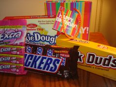 Needed a Cheap gift for a Co-workers birthday..... modified what I found online to this - In the card I wrote; Don't SNICKER, your birthday won't be a DUD, I am sure if you look in the bag you will find some EXTRA DOUGH!!!!!! cowork birthday, card, gift idea, birthday gifts