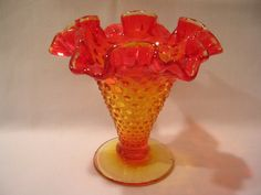 Fenton Red Amber Hobnail Vase