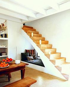 Under the stairs reading nook.