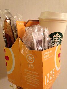 November teacher gift Thankful for good teachers. Starbucks cup, 3 biscotti, 3 tea bags & 3 Starbucks Via instant coffee.