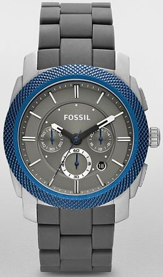 Mens Grey and Blue Fossil Watch