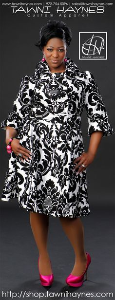 Tawni Haynes White and Black Damask Brocade Trench Dress. Order @ http://shop.tawnihaynes.com or call 972-754-5096. Other fabrics and colors available!