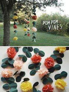 pink flower, 37 thing, pom poms, pom vine, paper flowers, paper crafts, diy wedding, parti, outdoor receptions
