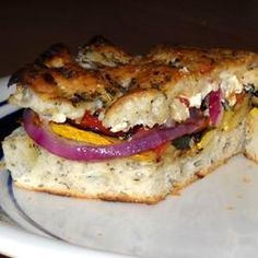 "California Grilled Veggie Sandwich | ""Delicious. My veggie hating husband was very skeptical, but upon tasting it, said, ""Let's make this again!"" Thumbs up!"" grilled veggies, easi meal, sandwiches, sandwich allrecipescom, food, favorit recip, california grill, grill veggi, veggi sandwich"