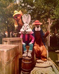 Vintage photo of Br'er Rabbit, Br'er Fox and Br'er Bear at Walt Disney World