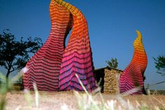 Herb William's Unwanted Visitor: Portrait of Wildfire, made of thousands of crayons which melt and change the sculpture's shape