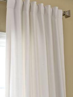 Dining Room curtain option Polar White Cotenza Pole Pocket With Back-Tabs Curtain