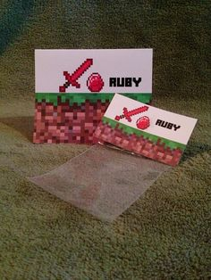 Minecraft Party Ruby Party Favor Bags, Labels & Tent Sign  #Minecraft