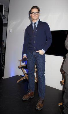 Matt Bomer - cardigan, blue-laced boots