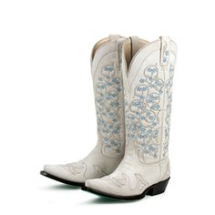 @Overstock - Hand-crafted from polished leather, these ivory cowboy boots from Lane Boots feature feminine flower detailing. With pointed toes and a comfortable padded footbed, these boots are finished with a scratched turquoise outsole.http://www.overstock.com/Clothing-Shoes/Lane-Boots-Womens-Tangled-Vines-Wedding-Cowboy-Boots/6322159/product.html?CID=214117 $111.99