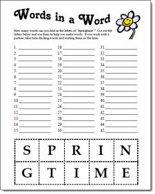 Free Springtime Words in a Word spelling activity