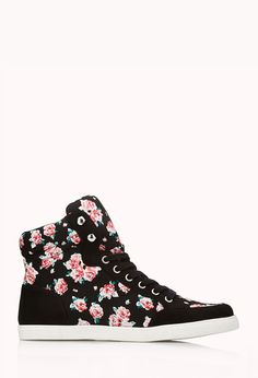 Pretty-Tough Floral High-Tops   FOREVER21 Kickin' it #Floral #Roses #Sneakers