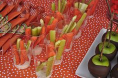Veggie cups... this blog has GREAT ideas for pumpkin patch party!