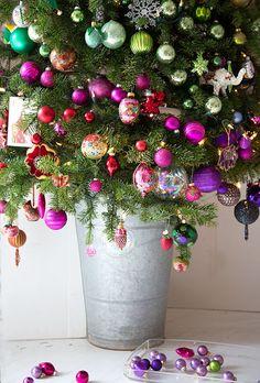 holiday, idea, buckets, christmas decorations, colors, blue hous, christma tree, christmas ornaments, christmas trees