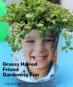 Gardening with Kids: Indoor Gardening Fun - Fun way to introduce your kids to gardening. My boys would think this was hilarious!