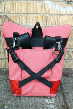 Strawberry Pink Pannier/Backpack Hybrid Bag w/ 3 by vayabags