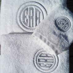 Monogrammed Embossed Initial White Towels