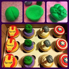 The Avengers themed cupcakes for a little boy on his 10th birthday! Ironman, The Hulk, Thor,  Captain America!