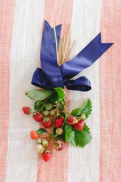 DIY strawberry flower arrangement: http://www.stylemepretty.com/2014/07/02/diy-strawberry-flower-arrangement/   Photography: http://rutheileenphotography.com/