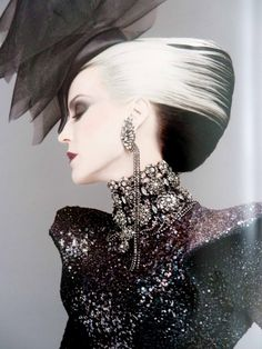 Women's Long Hair - UpStyle - Large French Roll - Color - Contrasting Black and White - Avant Garde - Daphne Guinness <3