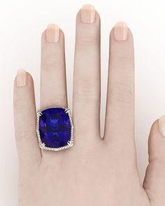 An Amazing 78.78 carat Natural Tanzanite and Diamond Ring. Definitely  ~ M.S. Rau Antiques