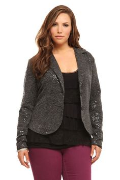 Allover+sparkling+sequins+play+with+the+down-to-business+expectations+for+this+grey+two-button+blazer.+Work+it+and+shine
