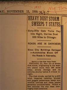 Newspaper Article about Dust Storms in 1938