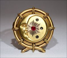 Antique Victorian 18kt Gold Ruby and Diamond 'Man in the Moon' Brooch from vsterling on Ruby Lane