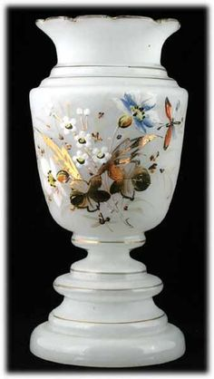 Victorian Bristol Glass Enameled Vase Opaline with Flowers