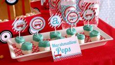 birthday parties, color, birthdays, marshmallow pops, 1st birthday, red wagon, flyer birthday, radio flyer, parti idea