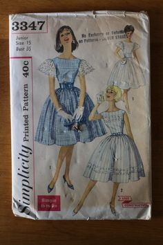Vintage 60s party dress sewing pattern. Uncut. Simplicity 3347. Size 15. 0241