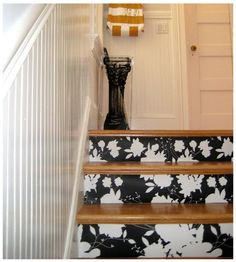 black & white wallpaper on the stairs