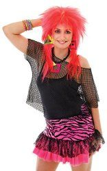 80s costume idea - neon pink zebra print skirt, sleeveless mesh/fishnet top over a black camisole top, red rock chick wig, geometric shapes necklace and neon bead bracelets.
