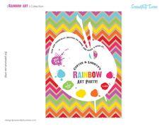 Rainbow Art Custom Printable Invitation by Serendipity Soiree