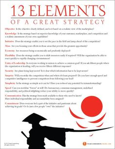 13 Elements of a Great Strategy | Frank Sonnenberg