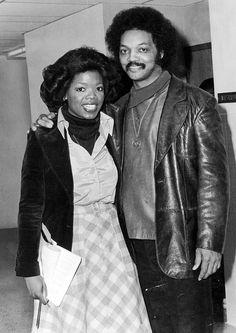 21-year-old Oprah Winfrey interviewing Jesse Jackson, 1975