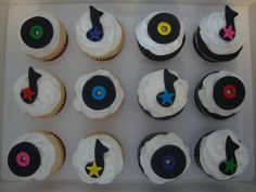 Edible Fondant Music Records and Music Notes Cupcake Toppers