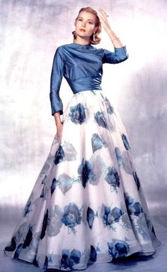 Grace Kelly wearing a printed floral silk gown