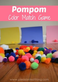 Try active target practice with this blowing pompoms game - Pompom Color Matching Game!