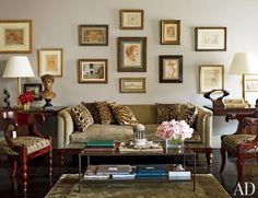 Old Master drawings ornament the Manhattan living room of tastemaker Nina Griscom.