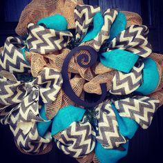 burlap/chevron/turquoise wreath