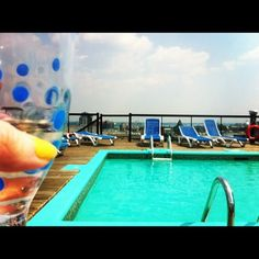 Rooftop pool + wine on a Saturday afternoon. Heaven in Montreal.