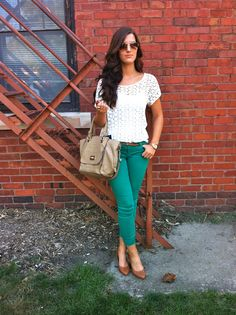 Teal jeans + lace shirt