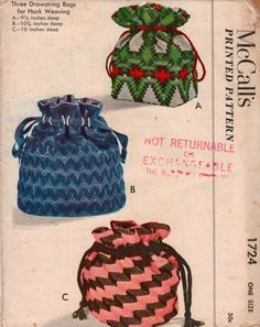 50s McCalls 1724 Huck Weaving  Drawstring Bags Pattern Uncut | PatternGate - Supplies on ArtFire