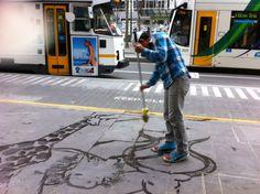 Street artist Swanston St Melbourne - bringing #Melbourne's pavements alive