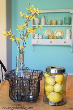 wall colors, spring colors, spring decor, apartment design, sunni side, kitchen, wire baskets, sweet home, flower