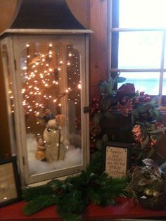 Great idea to create a scene in a lantern....love the lights too. change for every holiday, season. hummmm