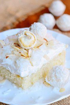 Raffaello Poke Cake Coconut Cake with White ChocolateCoconut Cream and Whipped Topping |  from willcookforsmiles.com #cake #coconut