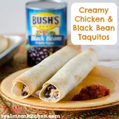 Creamy Chicken and Black Bean Taquitos | Real Mom Kitchen