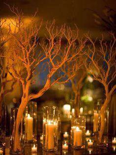 manzanita branches + candles